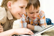 Free Brothers With Laptop Stock Image - 14165111