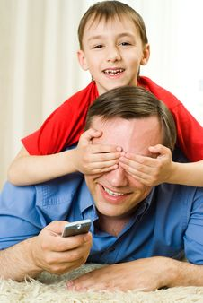 Son And Father Lying Royalty Free Stock Photography