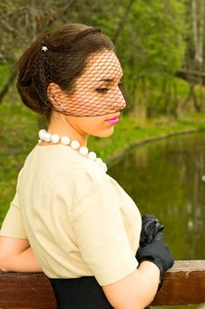 Free Retro Style Woman Near The River Royalty Free Stock Photos - 14166118