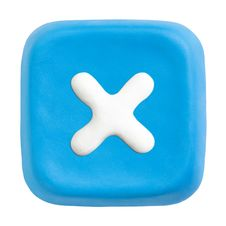 Blue Square Close Key. Clipping Paths Royalty Free Stock Photos