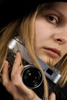 Free Retro Woman Photographer. Vintage Camera Stock Image - 14166371