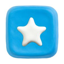 Blue Square Favourites Key. Clipping Paths Stock Images