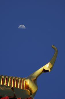 Gable Apex And Moon, Thailand Stock Photography