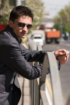 Young Adult European Man In Black Sunglasses Royalty Free Stock Image