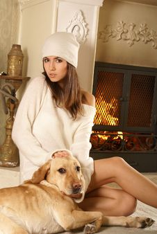 An Attractive Woman With A Dog Royalty Free Stock Photography