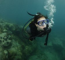 Free Female Scuba Diver Royalty Free Stock Photography - 14168387