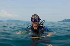 Free Scuba Diver On Surface Royalty Free Stock Image - 14168396