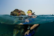 Two Scuba Divers On Surface Royalty Free Stock Photos