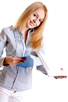 Business Woman In A Suit With Clipboard Royalty Free Stock Image