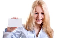 Young Business Woman With Business Card Royalty Free Stock Photos