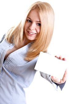 Young Business Woman With Business Card Royalty Free Stock Image