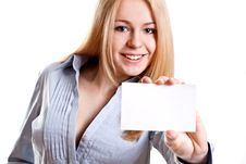 Free Young Business Woman With Business Card Royalty Free Stock Photography - 14169397