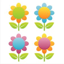 Free Set Of 4 Flowers Stock Image - 14169681