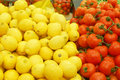 Free Close Up Of Lemons And Tomatoes On Market Stand Royalty Free Stock Image - 14176886