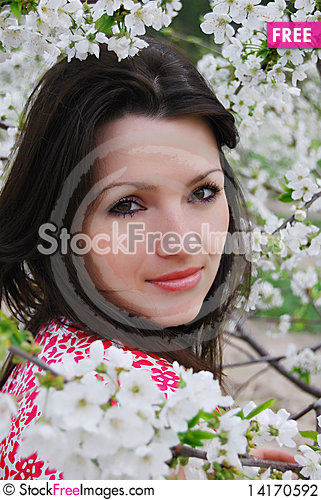 Free The Beautiful Girl In A Garden Stock Photography - 14170592
