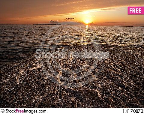 Free Sunset On The Rocky Beach Stock Photos - 14170873