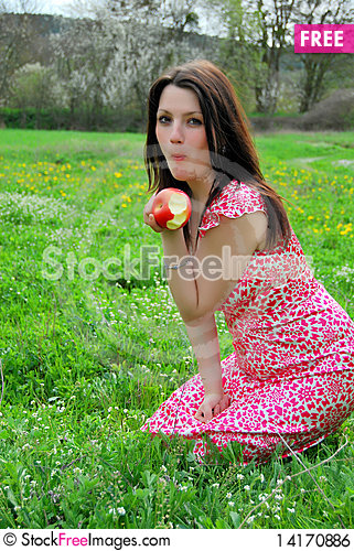 Free The Beautiful Girl In A Garden Royalty Free Stock Image - 14170886