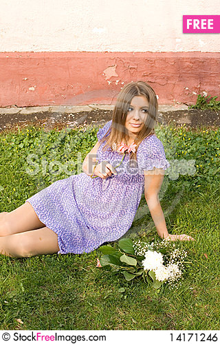 Free Girl With Flowers Royalty Free Stock Image - 14171246