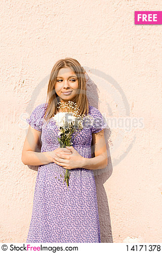Free Girl With Flowers Royalty Free Stock Photos - 14171378