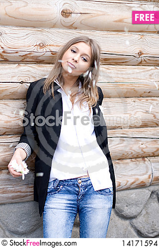 Free Girl Standing In Front Of A  House Stock Images - 14171594