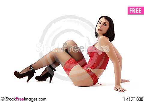 Free Woman In Red Lingerie Royalty Free Stock Photos - 14171838