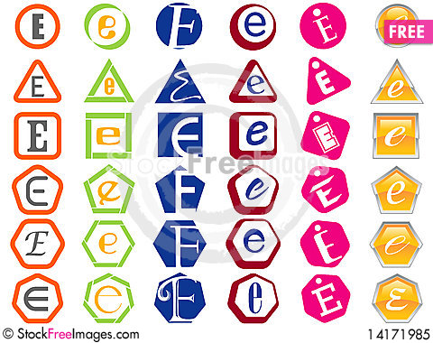 Free Letter E Icons Badges And Tags Royalty Free Stock Photo - 14171985