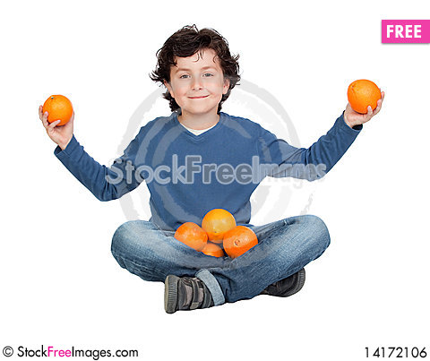 Free Funny Child With Many Oranges Royalty Free Stock Image - 14172106
