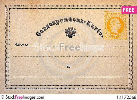 Free Old Foreign Postcard With Detailed Border Royalty Free Stock Photos - 14172568