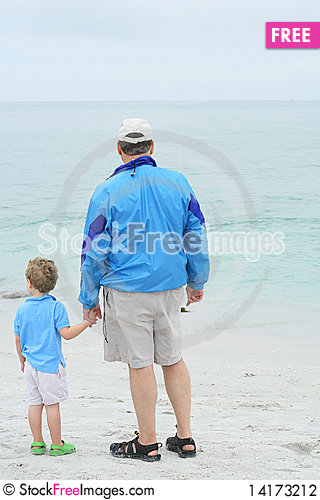Free Father Holding Sons Hand On The Beach Stock Photography - 14173212