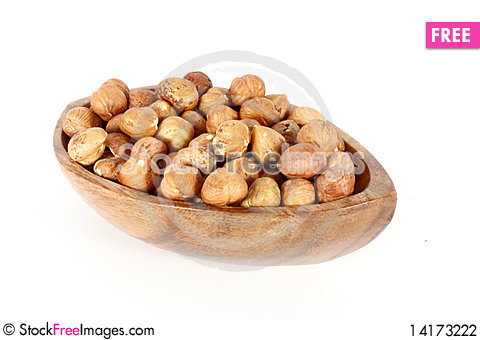 Free Hazelnuts In A Wood Bowl Stock Photography - 14173222