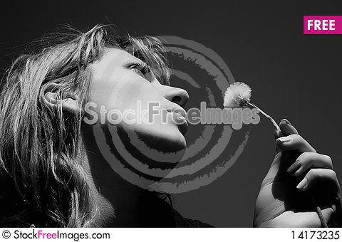 Free Woman With Dandelion Royalty Free Stock Photo - 14173235