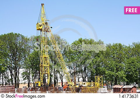 Free Lifting Crane On A Construction Site Stock Image - 14173631
