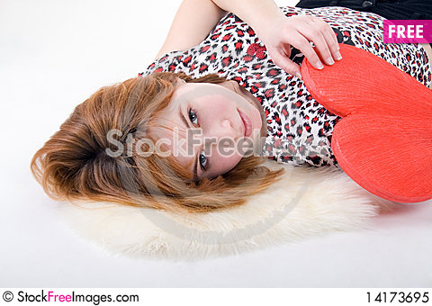 Free Girl Holding Red Heart Royalty Free Stock Photo - 14173695