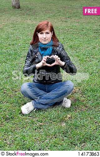 Free Girl Sitting On Grass Stock Photos - 14173863