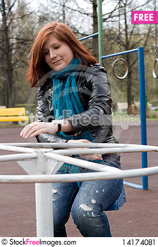 Free Sportive Girl Riding Carousel Stock Image - 14174081