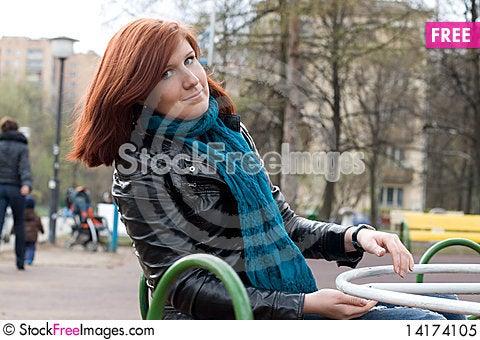 Free Sportive Girl Riding Carousel Royalty Free Stock Photo - 14174105