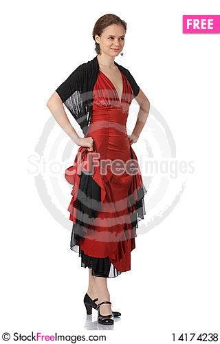Free Beautiful Flamenco Dancer. Dancing Contest. Royalty Free Stock Photos - 14174238