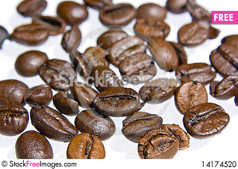 Free Coffee Grains Over White Background Stock Photo - 14174520