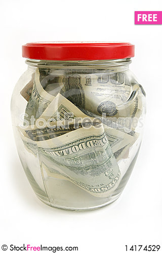 Free Dollar  Bills In Glass Jar Royalty Free Stock Images - 14174529