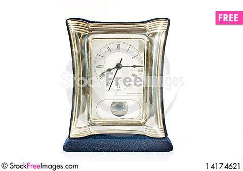 Free Elegant Table Clock Over White Background Stock Image - 14174621