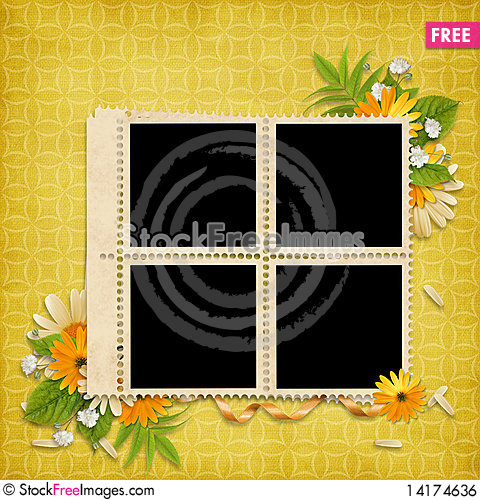 Free Card For The Holiday  With Flowers Royalty Free Stock Image - 14174636