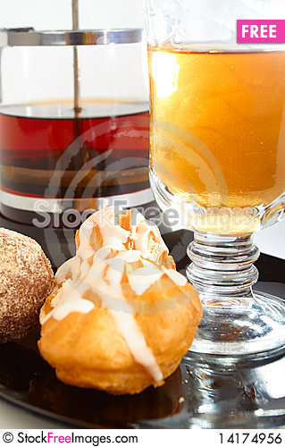 Free Two Cakes, Teapot And Cup Of Tea Royalty Free Stock Image - 14174956