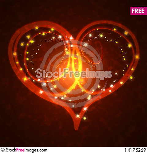 Free Burning Heart With Sparkles Royalty Free Stock Images - 14175269