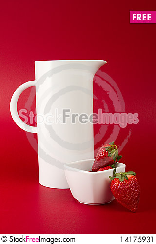 Free White Jug On Red Background Stock Image - 14175931