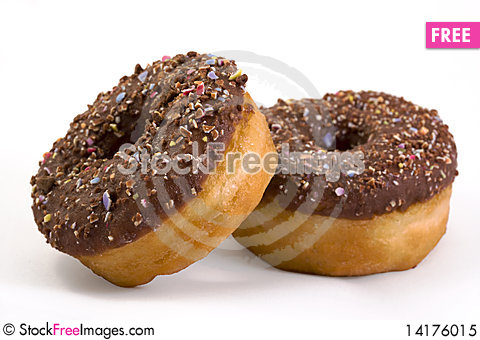 Free Two Doughnuts Over White Royalty Free Stock Photo - 14176015