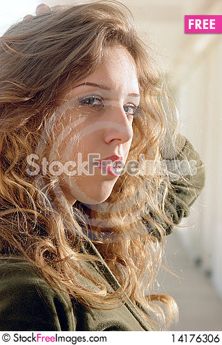 Free White Blonde Touching Hair Royalty Free Stock Image - 14176306