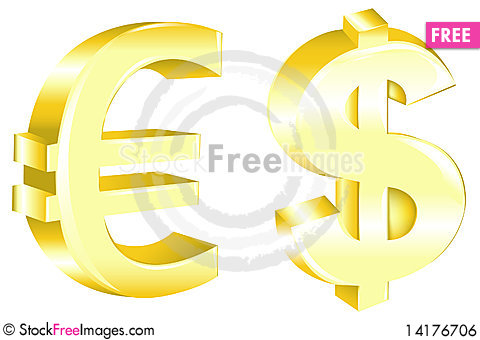 Free Dollar And Euro Signs. Vector Royalty Free Stock Image - 14176706