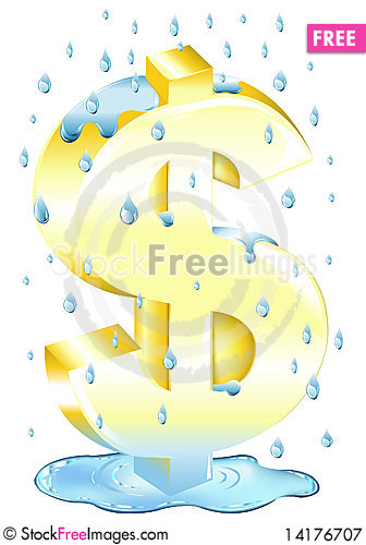 Free Dollar Sign In The Rain. Vector Royalty Free Stock Photography - 14176707