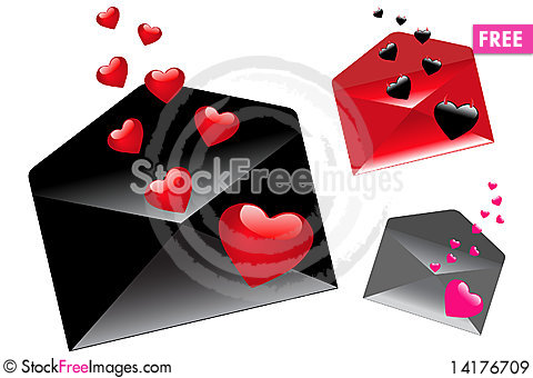 Free Envelops With Hearts. Vector Royalty Free Stock Images - 14176709