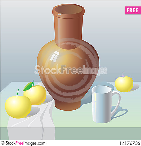 Free Still Life With Pot And Apples Royalty Free Stock Image - 14176736
